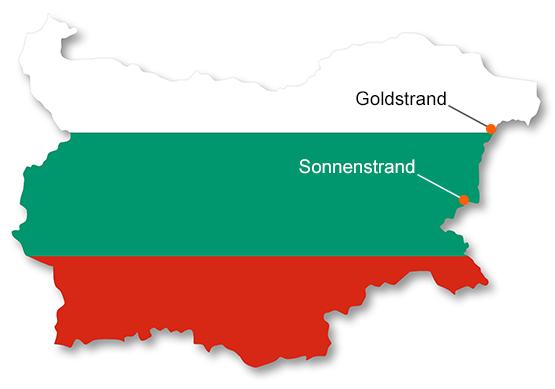 Bulgarien Karte mit den Ziel Destinations für die FUN Jugendreisen