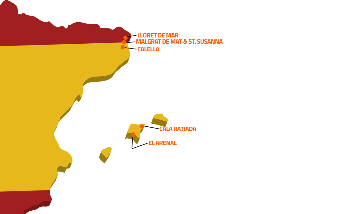 Spanien Karte mit den Ziel Destinations für die FUN Jugendreisen