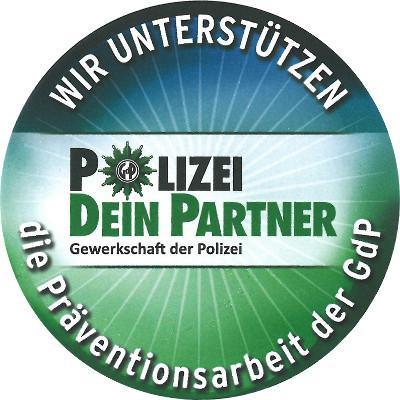 Logo Wir unterstützen die Präventionsarbeit der Gewerkschaft der Polizei
